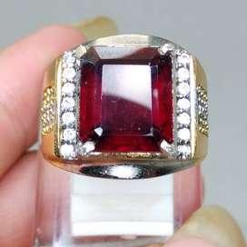 Cincin Batu Mulia Merah Garnet Kotak Asli