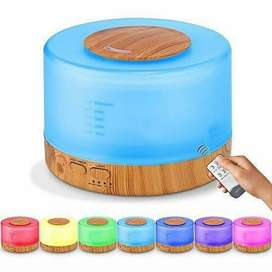 Ultrasonic Aroma Diffuser Humidifier Colorful LED-500 ML Motif Kayu