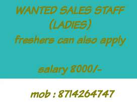 Wanted lady sales staff