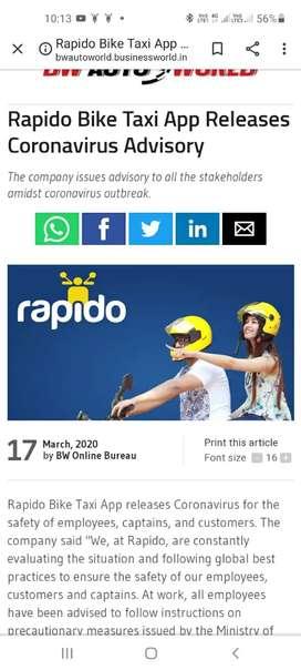 Rapido ke saat bike or auto chalay or or money kamay