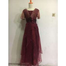 Dress atas bawah 1 set maroon / preloved /  dress bekas