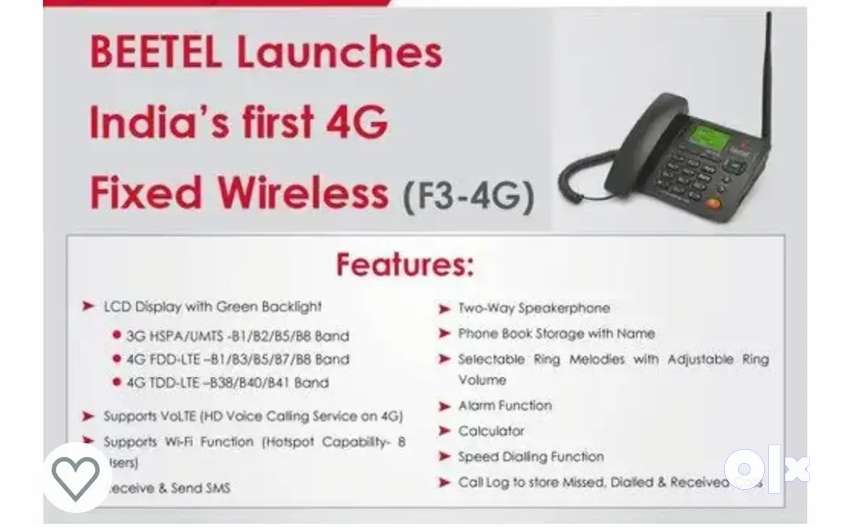 Beetel 4G Landline wifi with Battery Any 4G sim can be use