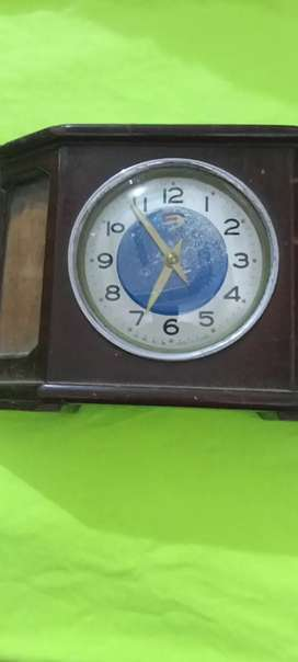 Antique wooden brass vintage Table Clock