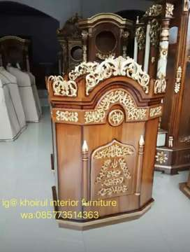Podium mimbar jati buat musholla masjid 25 abk.