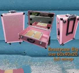 Beauty case murah mewah terbaru 40x30x16 full kaca plus trolly