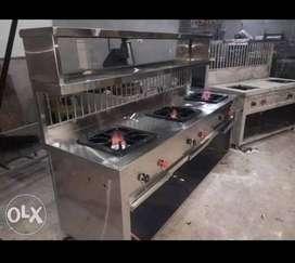 new 3 burner Fast Food  Tikki Pav Bhaji Kitchen Bhatti Counter