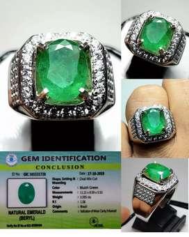 Batu Zamrud Natural Emerald Beryl 3.35ct Origin Brazil memo TGL