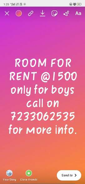 Room for rent price 1500.