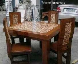 Meja makan minimalis koin moderen, K.4. Bahan kayu jati tua asli
