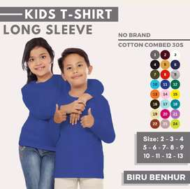 KAOS POLOS PREMIUM LONG SLEEVE KIDS COTTON COMBED 30s