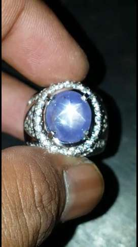 Blue sapphire star srilanka 9crt up serti big lab