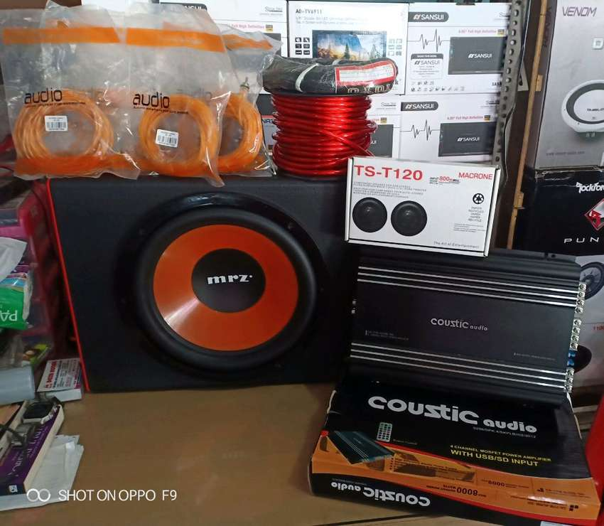 "Plus pemasangan, Power Coustic+Subwofer MRZ+Tweeter Ts+Box Mdf+Kabel"" 0"