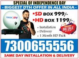 Tata Sky SD/HD Tatasky Dishtv Airtel Tv DTH Videocon d2h Book Now!!