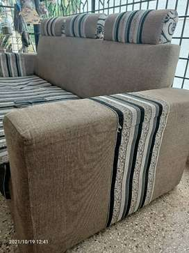 Standard sofa-3 seater-fabric material-regular size-colour gray, black