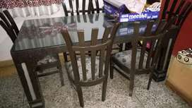 stylish dining table with six chairs