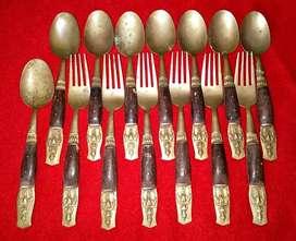 Antik Sendok/Garpu THAILAND Nikel Bronze(Perunggu) 8 sendok+7 garpu