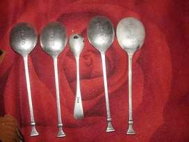 Antique old pure silver 5 spoons