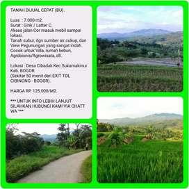 Tanah murah dgn View indah 7.005 m2, 50 menit dr TOL CIBINONG-BOGOR.