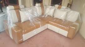 Sofa L new cream coklat minimalis+bantal.