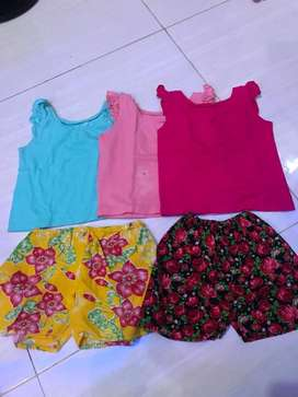 Baju oblong + celana pendek set size 1-2thn (3+2)