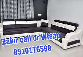 Black and white sectional couch L shape Sofa