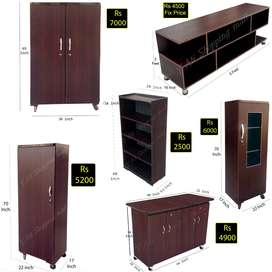Wooden Sheet Furniture , Cupboards , Iron Stand , Led tv Etc