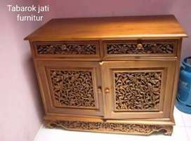 Meja tv slim ukiran mewah, P.100, kayu jati asli 100%