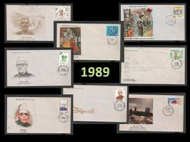 Stamps Collection 8 First Day Covers FDC of 1989