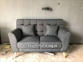 sofa kancing Minimalis, 2 seater baru