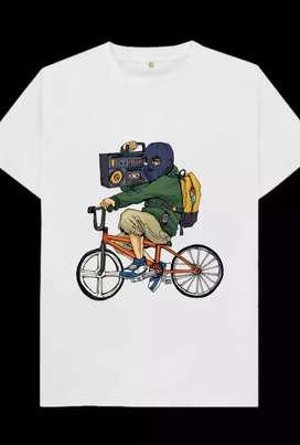 Kaos gambar laki2 naik sepeda dan speaker musik