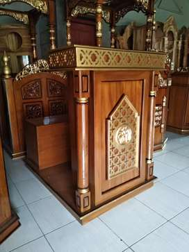 Mimbar masjid podium kayu jati dm