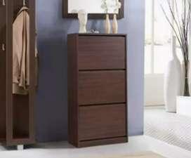Shoe rack cabinet wood 27 pair adjustable shelf Urban Ladder brand new