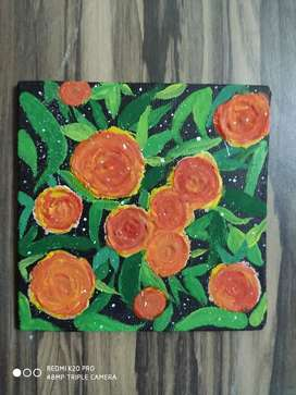 FLOWERS ACRYLIC MINI CANVAS PAINTING IDEAL FOR WALL DECORATION 6X6