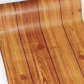Wallpaper dinding stiker kayu modern