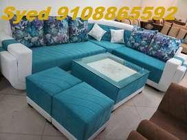 High model L shape fabric corner sofa set 3 year waranty Cal VB 38