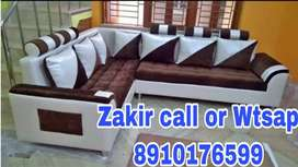 Brown and white seat tufted Sofa with warranty
