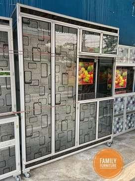 Lemari Rak Piring Aluminium 4 Pintu Ukuran Jumbo  Minimalist Tempahan