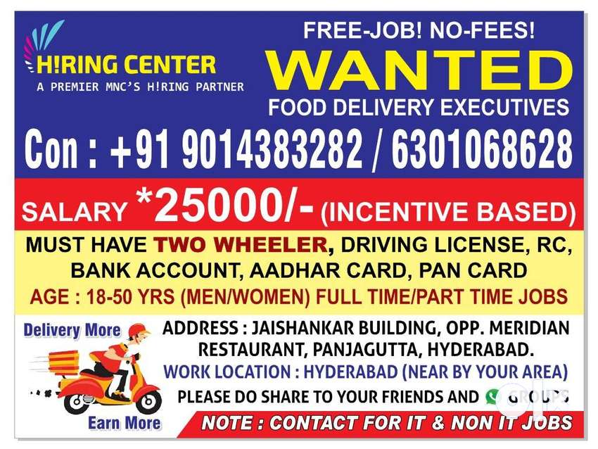 food delivery executives (Men & Women) wanted urgently-Hyderabad 0