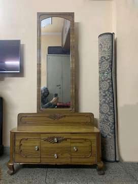 Wooden dressing table with storage and full length mirror