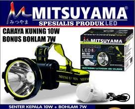 Senter Kepala LED Cahaya Kuning + Baterai 18650 Mitsuyama MS-147