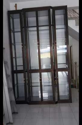 lemari, stelling dan rak piring kaca aluminium