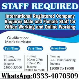 Staff required of males and females for online public working.