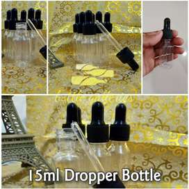 15 Ml PLASTIC BOTTLE WITH BLACK DROPPER FOR SERUM, AND ESSENTIAL OILS