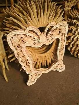 Cermin kaca pigura kayu free ongkir