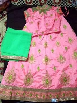 New light pink & green party wear lehenga