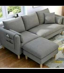 Sofa L minimalis,Sofa 3 dudukan + Puff