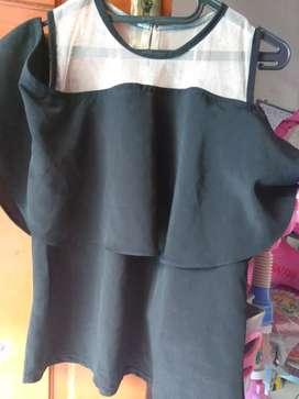 Baju sabrina hitam muat sampai size L