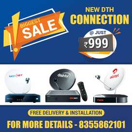 Airtel Tata Sky dishtv HD DTH Connection Set box, remote Dish antenna
