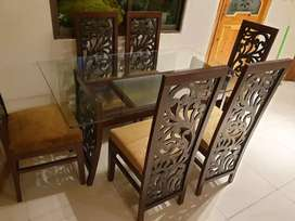 6 chairs wooden dining table