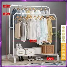 Multica Stand Hanger Double Rak Pakaian Baju Rak Besi Kuat Jemuran